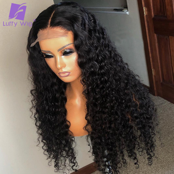 5x4.5 Silk Base Human Hair Wigs PrePlucked 13x6 Remy Malaysian Curly Lace Front Wig With Baby Hair Middle Deep Part 150% LUFFY 1