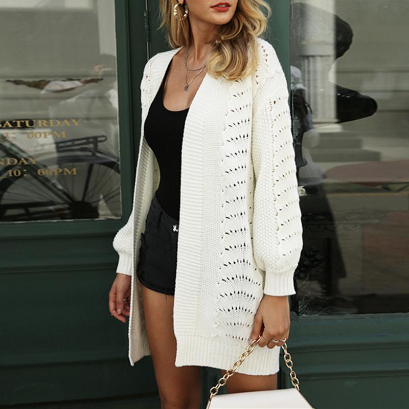 Aartiee Long Sleeve Shrug Knitted Loose Sweater Women Autumn Winter V-neck Long Overcoat Cardigan Women White Female Knitwear