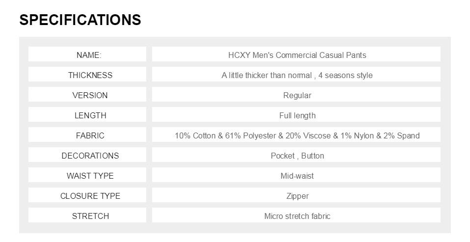 H2cc859e9553f4157b97965a49c9afc014 HCYX Brand 2019 four season Classic High quality Men's Casual Pants Trousers Men Casual Pants Business Straight Size 38