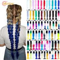 MEIFAN 24 pouces cheveux au Crochet cheveux synthétiques africain Afro Jumbo cheveux tresses bleu couleur brins Ombre faux tressage cheveux