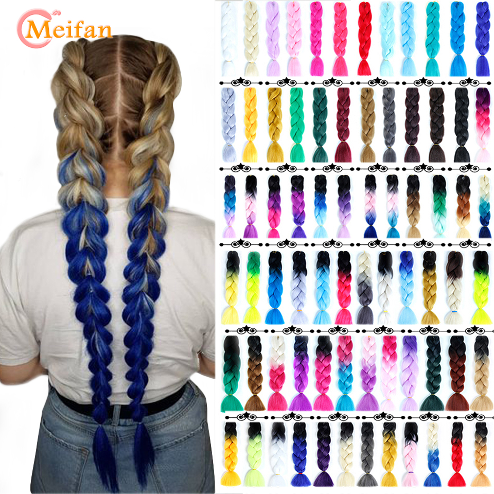 MEIFAN 24 Inch Crochet Hair Synthetic Hair African Afro Jumbo Hair Braids Blue Colored Strands Ombre False Braiding Hair