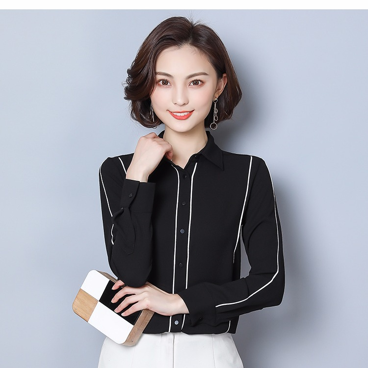 Chemise Femme Manches Longues 2019 Nouveau Style Noir Et Blanc avec Motif L'occupation Lo Convention Chemise Grande Taille top en mousseline Base - 3