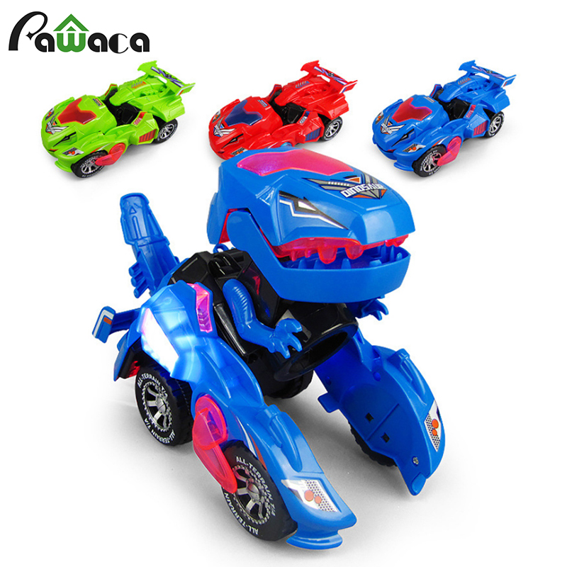 Deformation LED Car Kids Dinosaur Toys Play Vehicles With Light Flashing Music Electric Deformation Dinosaur Toy Car Gift