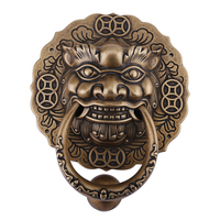 Archaize door pull ring lion head tiger knocker copper handle pure ancient Chinese style wooden beast