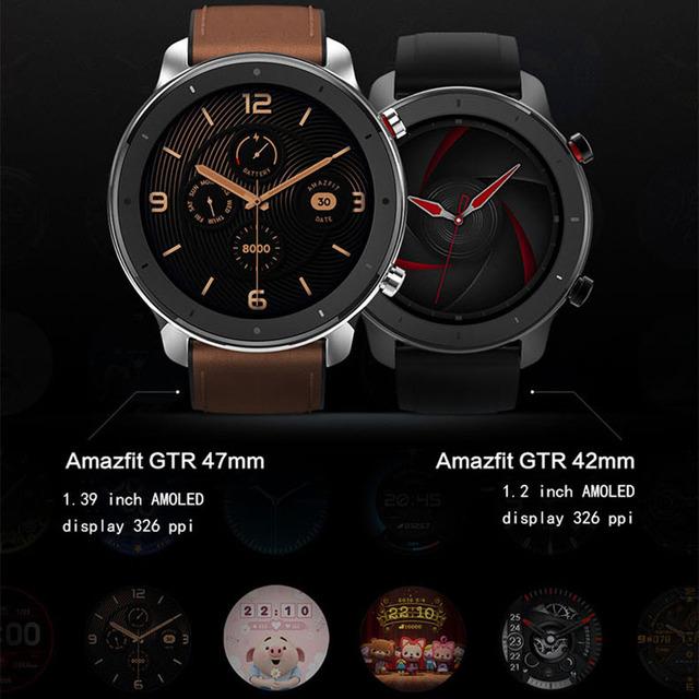 Global Version Amazfit GTR 47mm 42mm Smart Watch Xiaomi Huami Smartwatch 12Sports Modes 5ATM Waterproof GPS 24Days Battery AMOLE