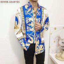 Новая мужская Рождественская рубашка, мужская рубашка с длинным рукавом, роскошная синяя рубашка с принтом дворца, винтажные приталенные вечерние рубашки в стиле барокко