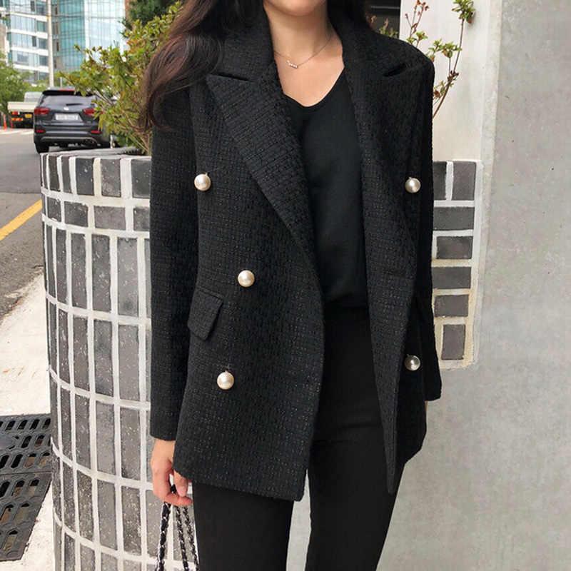 女性服秋ソリッドカラーの新韓国スーツのジャケット女性のファッションの女性の気質パールウールスーツ女性
