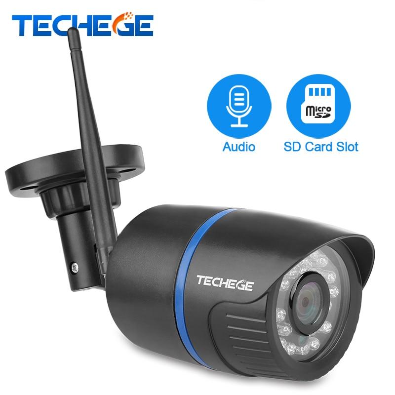 2.0MP Techege 1080P Wi-fi Câmera de Segurança Sem Fio Ao Ar Livre indoor Night Vision Com Fio À Prova D' Água de Vídeo Vigilância Cartão Da Câmera SD