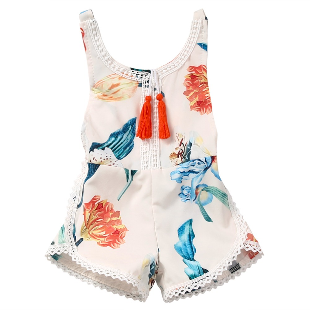 Newborn Baby Girl Kids Sleeveless Flower Romper Jumpsuit Backless Cotton Sunsuit Outfits
