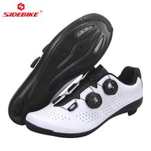 Sidebike nowych mężczyzna kobiet obuwie rowerowe owinięte wzmocnioną podeszwą z włókna węglowego buty rowerowe oddychające kolarstwo szosowe buty rowerowe tanie tanio CN (pochodzenie) Syntetyczny Dla dorosłych Poliester Średnie (b m) Lace-up road bike shoes Pasuje prawda na wymiar weź swój normalny rozmiar