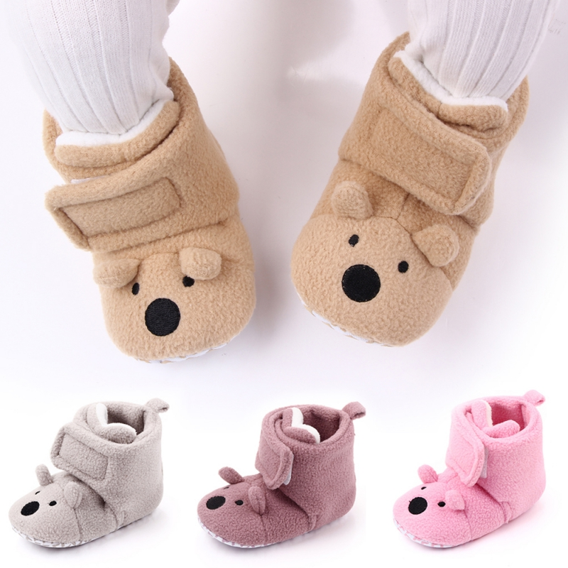 Cute Bear Baby Shoes For Newborns Infant Soft Soled Footwear Walking Shoes Winter Toddler Warm First Walkers Shoes For Babies