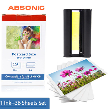 Absonic CP1300 for Canon Selphy Ink Paper Set 1 Ink+36 Sheet Photo Paper for Canon CP1200 CP910 CP900 Printer KP-108IN KP-36IN casual canvas handbags portable storage bag men women case for canon selphy cp910 900 1200 digital photo printer