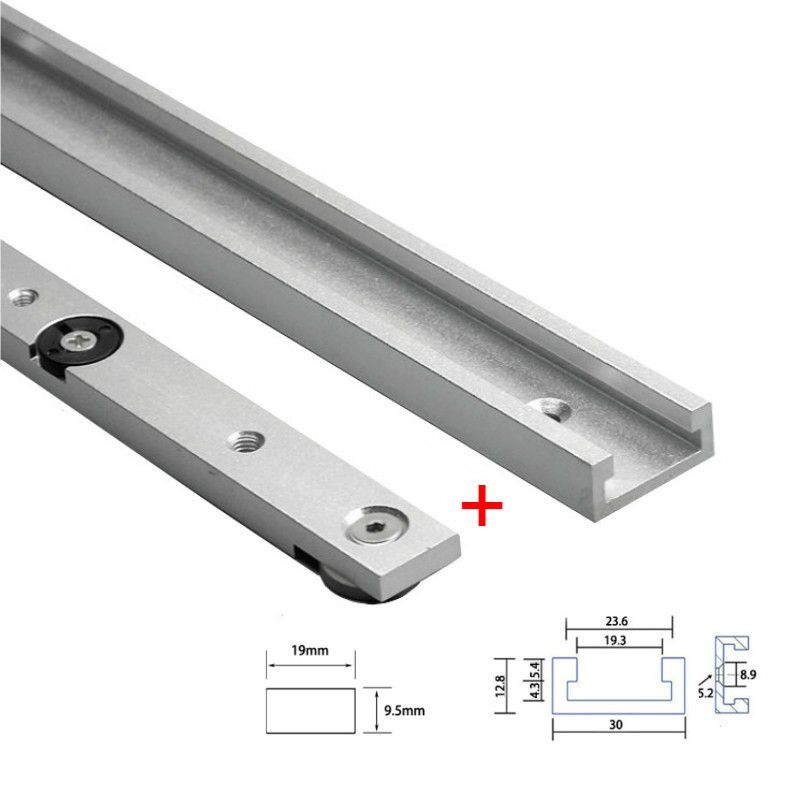 1Set Aluminium Alloy T-tracks Slot Miter Track And Miter Bar Slider Table Saw Miter Gauge Rod Woodworking Tools Workbench DIY