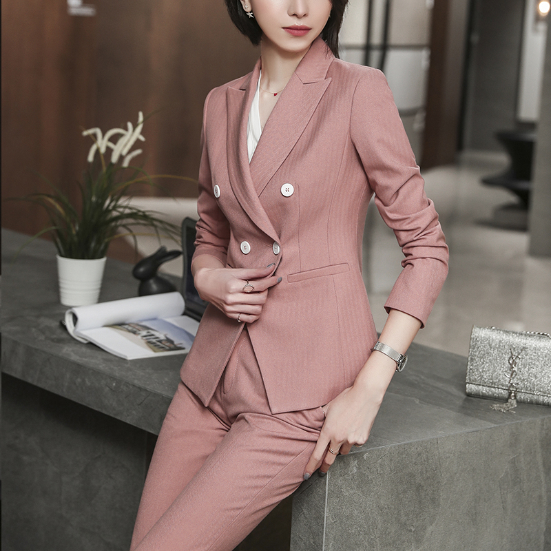 SUSIELADY Women Pant Suit Solid Double-Breasted Office Lady Work Wear Women Suits Formal Blazer Jacket & Pant
