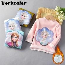 Зимняя рубашка для маленьких девочек; теплая флисовая рубашка с длинными рукавами; рубашки принцессы Эльзы с блестками; топы для детей; модная одежда для маленьких девочек