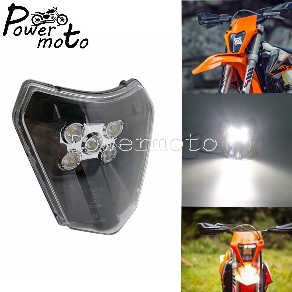 For KTM EXC Enduro xcw xc sx-f xc-w Six Days 125-450 690 Husqvarna LED Head Lamp Lighting E8 Motocross LED Headlight