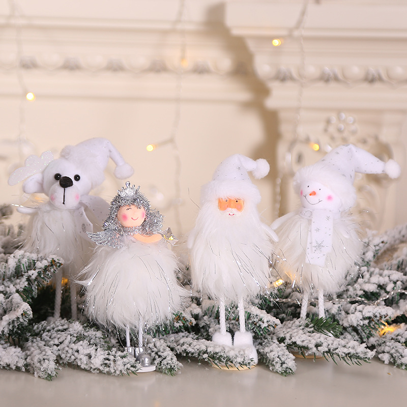 2019 Christmas Angel Snowman Plush Doll Christmas Tree Ornaments Cute Santa Doll Kids Gift New Year Decoration Party Supplies in Pendant Drop Ornaments from Home Garden