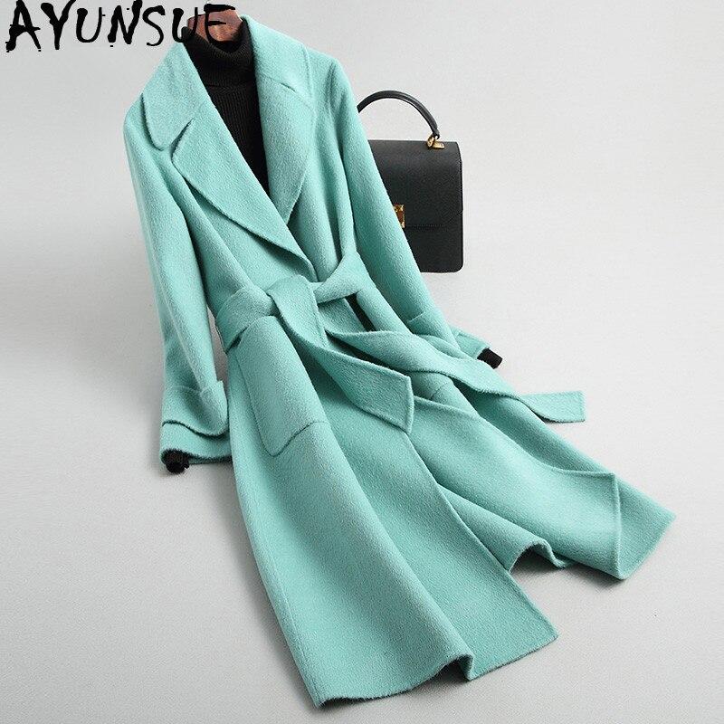 AYUNSUE Real Wool Coat Female Alpaca Jacket Winter Jacket Women Double Side Woolen Coats and Jackets Women Korean Long Jacket MY