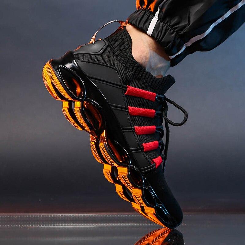 남성 신발 스니커즈 편안한 캐주얼 스포츠 신발 새로운 통풍 Tenis Masculino 성인 남성 레드 가을 블레이드 대형 39-48
