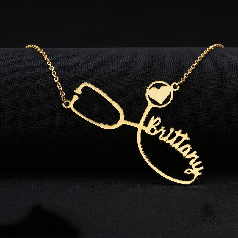 Collar personalizado Acero inoxidable cadena de oro grabado estetoscopio Collar personalizado nombre collares para Mujeres Hombres Boho joyería
