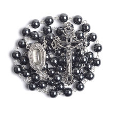 Holy Water Jerusalem 8mm Hematite Beads Our Lady of Lourdes Men Women Catholic Rosary(China)