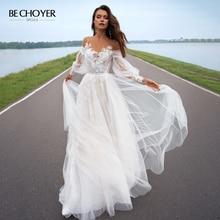 Vestido De Noiva Sweetheart Applicaties Lace Trouwjurk 2020 Boho Illusion Bladerdeeg Mouw A lijn Prinses Bechoyer PA03 Bruid Gown