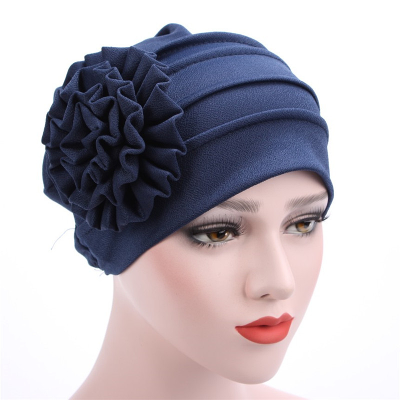 Fashion Women Cap Cotton Polyester Flower Cancer Chemo Beanie Solid Color Ladies Baggy Hat Muslim Inclusive Caps TC21