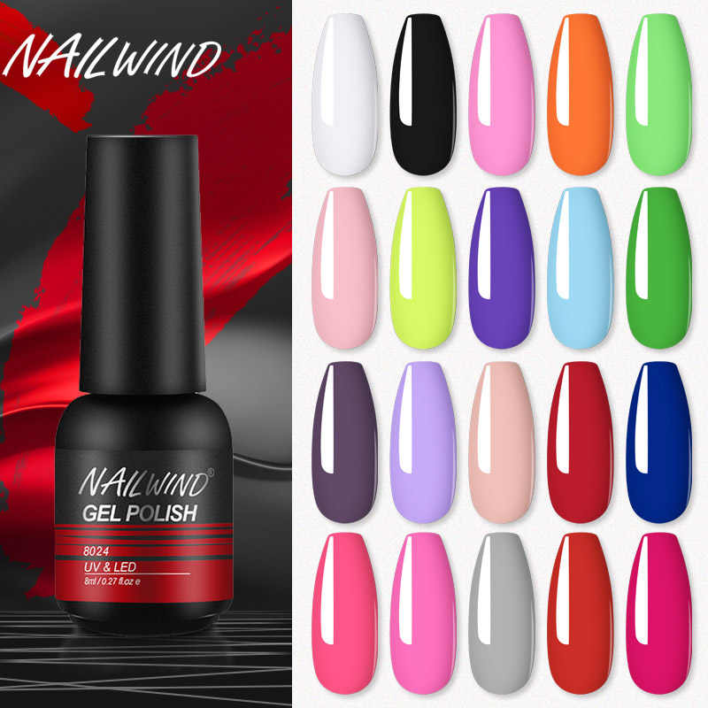 Nailwind Gel Kuku Kuku Manikur Set UV LED Poly Lukisan Gel Nail Art Desain Base Top Primer Coat Rosalind Kuku gel Pernis