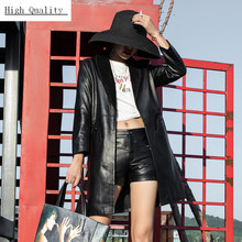 Spring Women Genuine Leather Mid Long Coat Trench Black Slim Fashion Ladies Streetwear Real Leather Sheepskin Jacket Windbreaker(China)