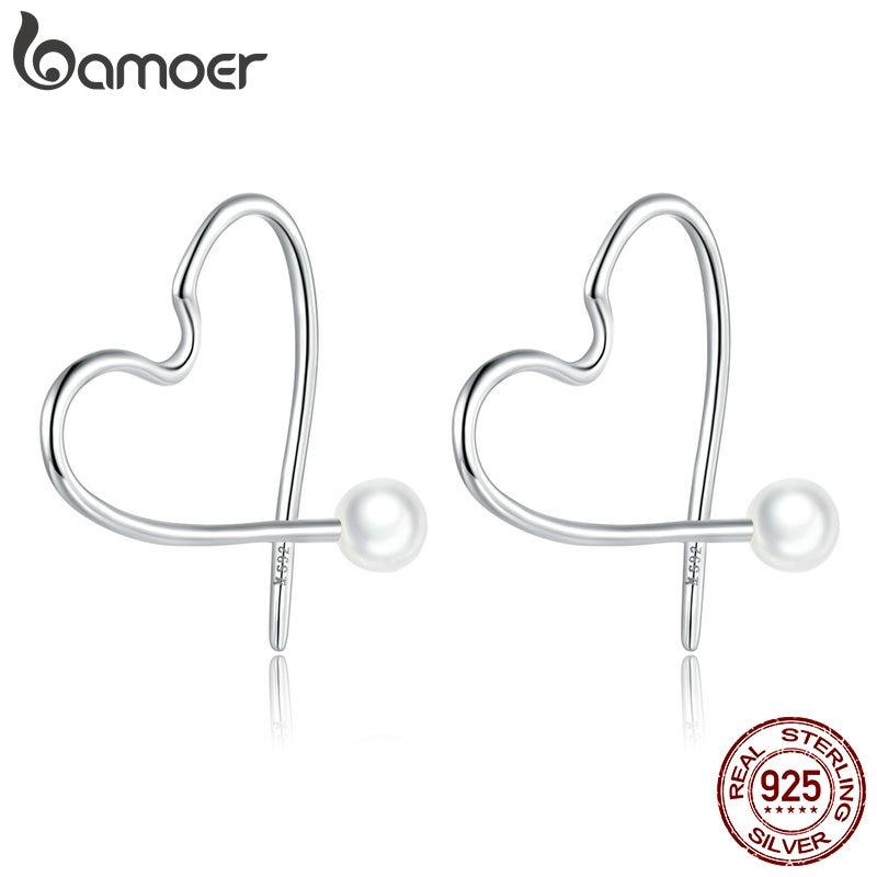 bamoer 925 Sterling Silver Shell Pearl Heart Ear Hoops Earrings for Women Minimalist Simple Fine Elegant Weddings SCE964