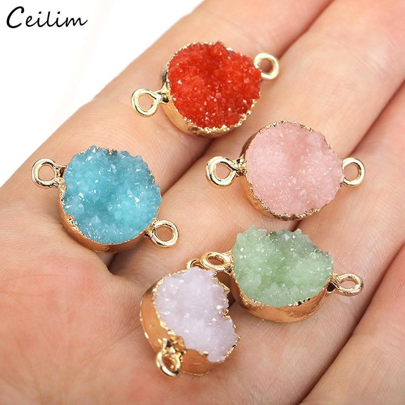 10 шт. позолоченный круглый искусственный камень из смолы, соединитель, подвески для браслета, ожерелья, кристаллические ювелирные изделия, ...