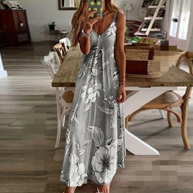 Vintage Floral Sleeveless Holiday Long Maxi Dress 2