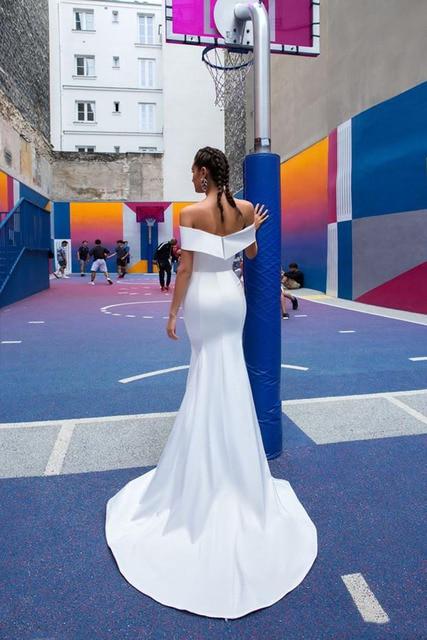 Vestidos de noiva sereia com saia destacável fora do ombro cetim vestidos de noiva branco vestido de casamento 3