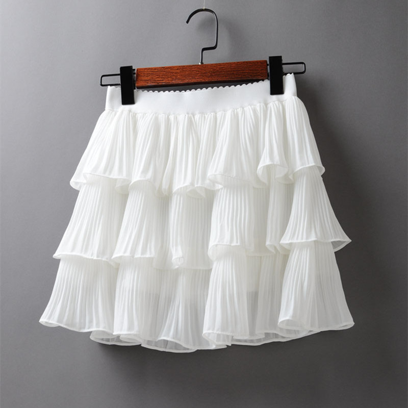2020 Summer Women Elasticity Waist Mini Skirt Ladies Chiffon Skirt Ladies Casual Cake Skirts Black White Femme Pleated Skirts