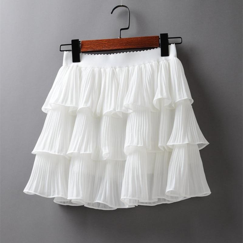 2020 Summer Women Elasticity Waist Mini Skirt Ladies Chiffon Skirt Ladies Casual Cake Skirts Black White Femme Pleated Skirts