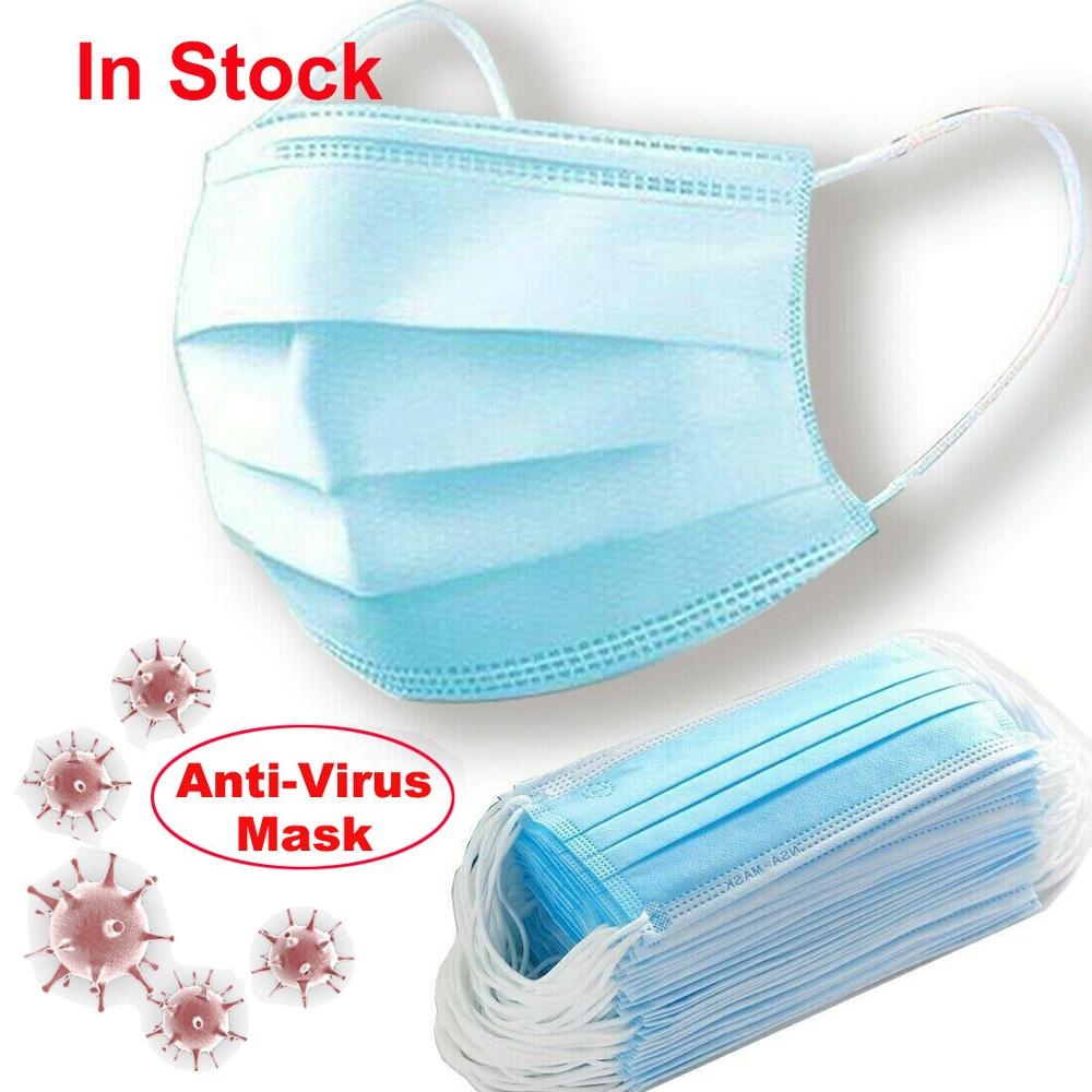 Antivirus Disposable Face Mask Virus Nonwove 3 Layer Ply Filter Mouth Face Mask Dust BFE95 Meltblown Mouth Masks