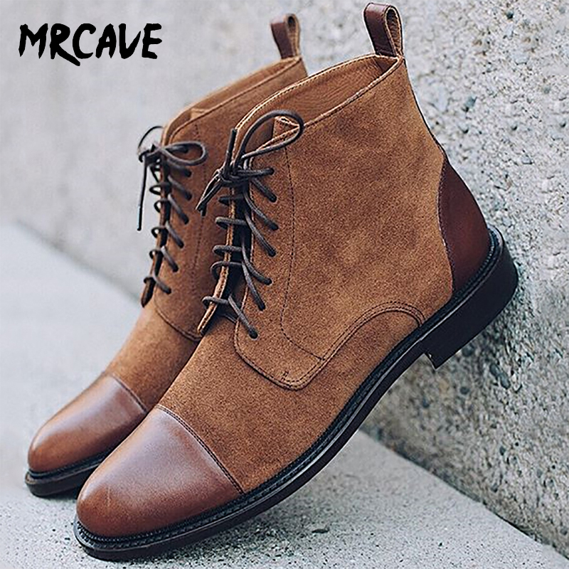 MRCAVE Men Leather Formal Flat Shoes 2020 Lace Up Formal Ankle Boots Male Faux Suede Patchwork Boots Man Solid Derby Shoe