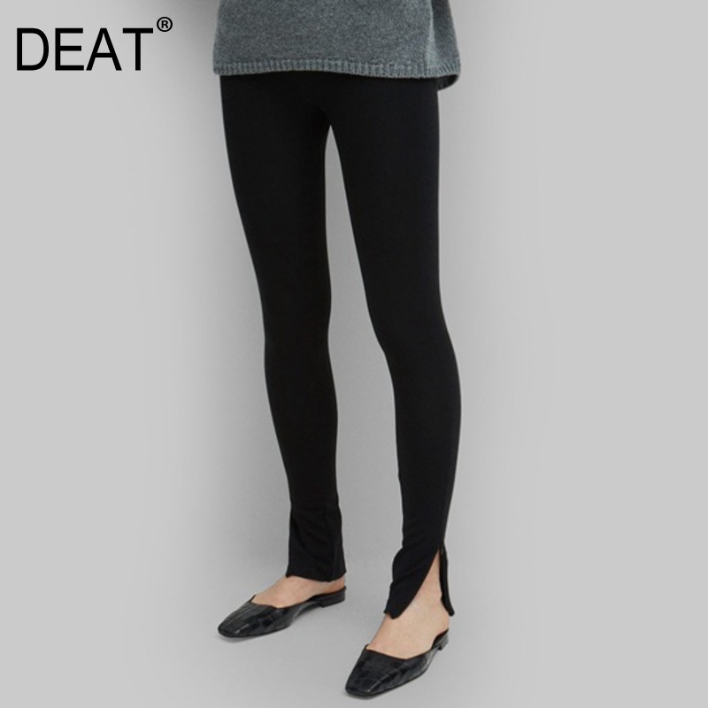 DEAT 2020 New Spring Solid Color Zipper Split Elastic Pants Women Streetwear Slim Was Thin Temperament Trousers Tide PD213