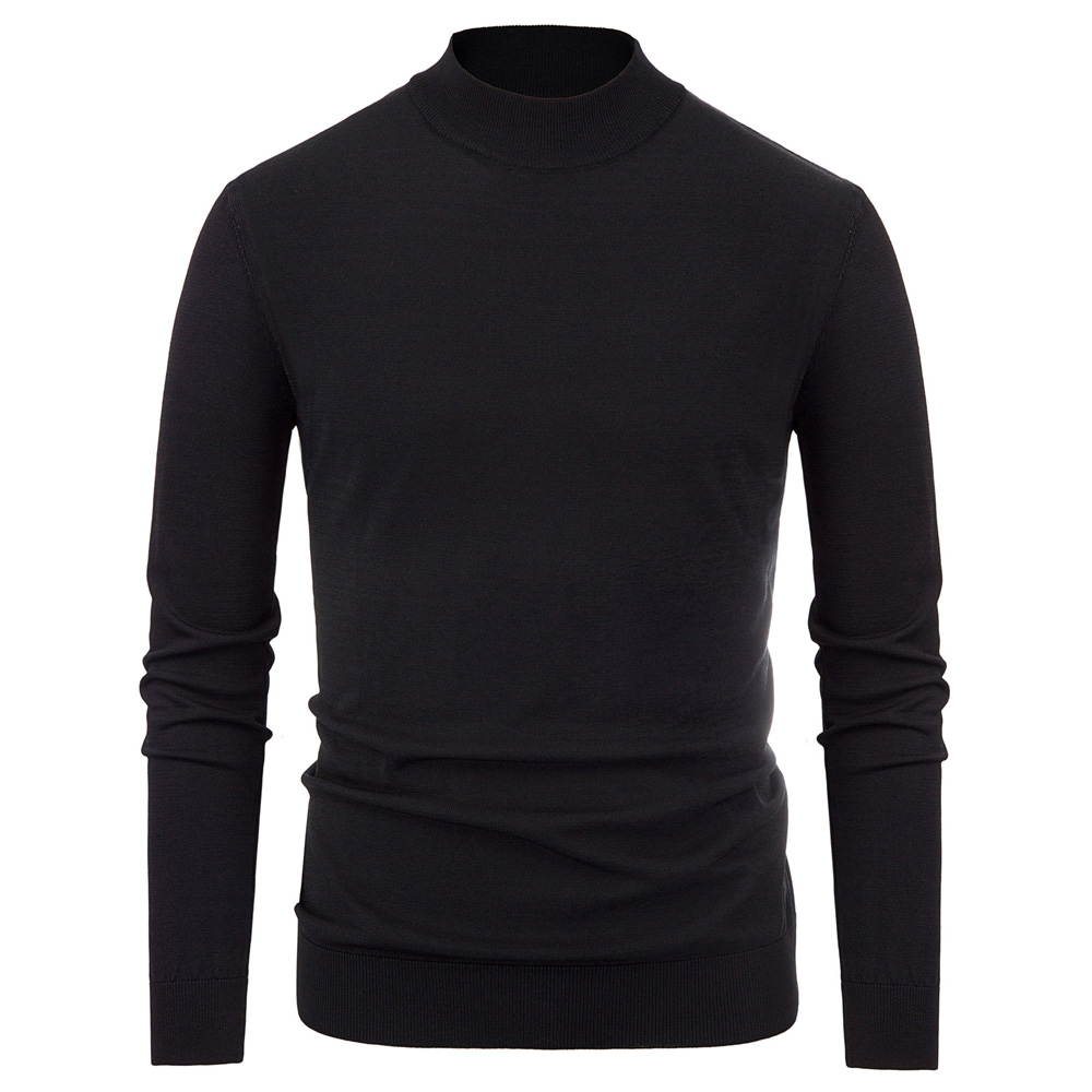 Fall Winter Sweater Men Tops Warm Casual Basic Comfy Mock Neck Knitting Tops Long Sleeve Stylish Slim Fit Jumper Elastic Jumper