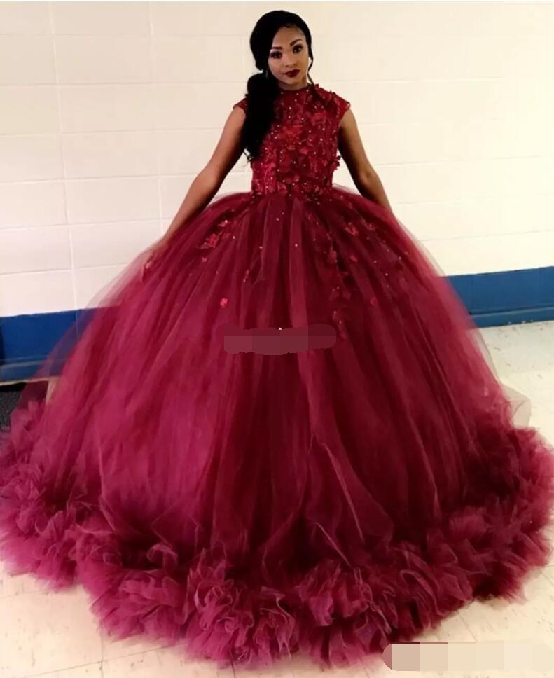 African Burgundy Ball Gown Quinceanera Dresses 2019 Vestidos De 15 Anos Cap Sleeve Appliques Ruched Prom Dresses Robe De Bal