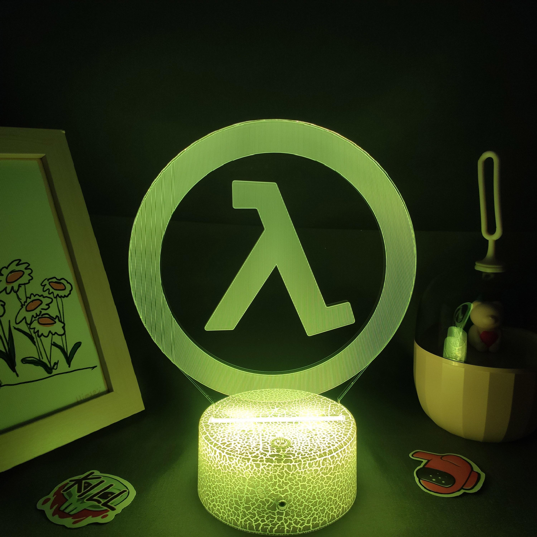 Luminária Half-life valve da lâmpada fps jogo marca logotipo 3d led rgb luzes da noite presente de aniversário colorido para o amigo lava lâmpada quarto cama mesa decoração