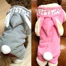 Ropa de abrigo para perros lindos Orejas de conejo grandes chaqueta de diseño de invierno mascota espesar mono de moda abrigo de lana para perros Chihuahua