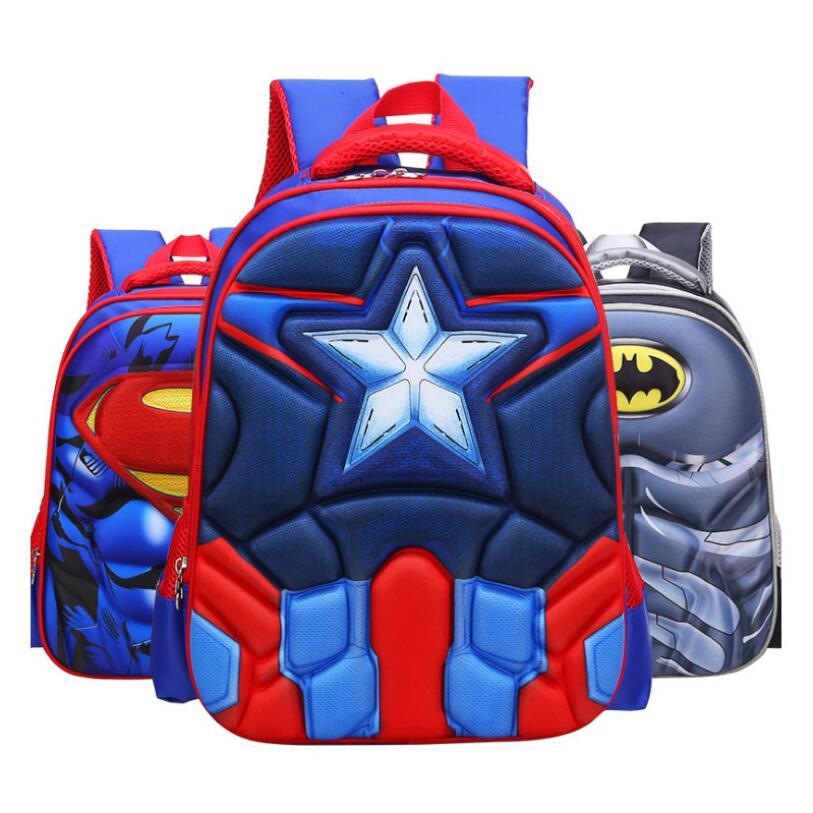 Superhero Spider Man Batman Kids School Bags For Boys Backpack Kid Waterproof Primary School Backpacks Children Cartoon Backpack School Bags     - title=