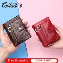 Carteira de couro genuíno carteira feminina pequena carteira feminina bolsa de moedas bolso zíper titular do cartão curto embreagem saco de dinheiro rfid