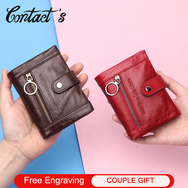 Contacts Small billetera de piel auténtica para mujer, monedero femenino, bolsillo con cremallera, tarjetero corto, bolso de mano tipo monedero Rfid