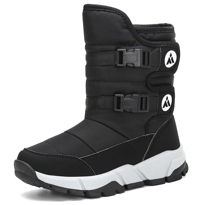 Winter Kids Shoes Furry Boots Outdoor Boys Girls Boots Flat Shoes Snow Boots Children Flats Mid Calf Boots tenis infantil|Boots| |  -