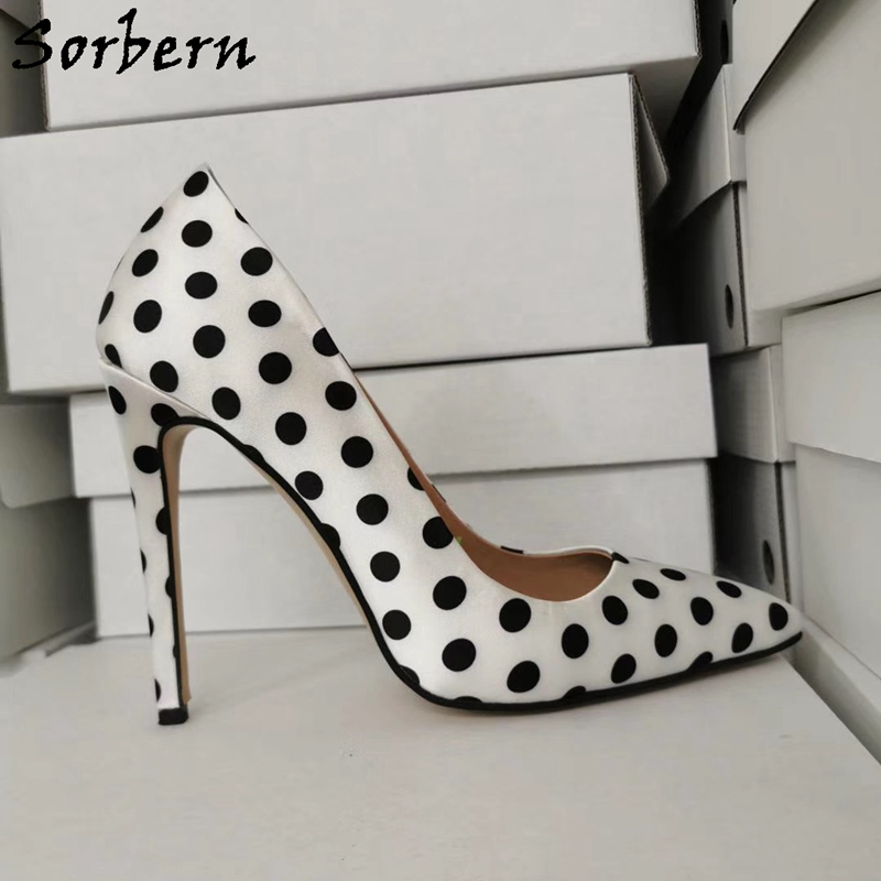 Sorbern White Women Pump Shoes Dot Fabric Pump Ladies High Heels Stilettos Pointed Toe Slip On Size 12 Womens Shoes Custom Color
