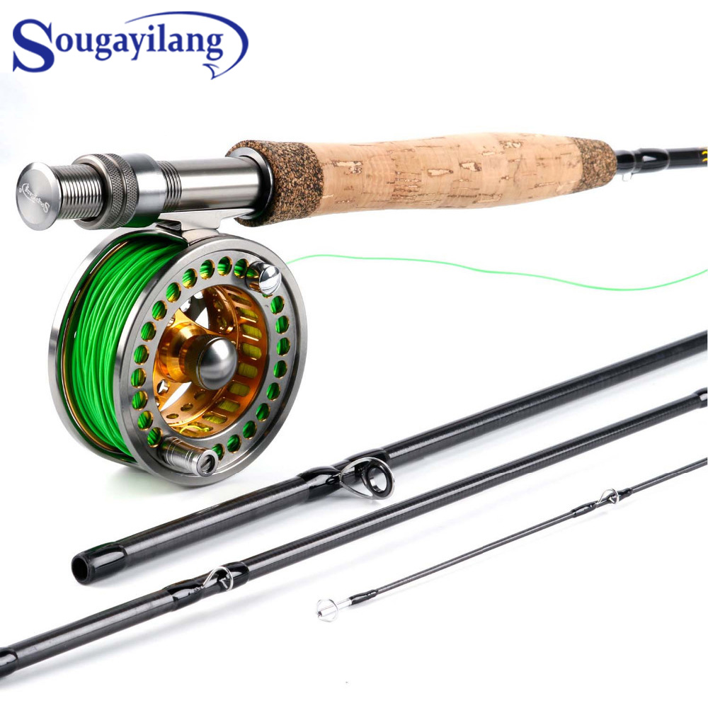 Sougayolang 2.7m Fly Rod and Fly Fhishing Reel Combo Carbon Freshwater Fishing line 5/6 Full Metal Fishing Reel Set Fishing Tack|Fishing Rods| |  - title=