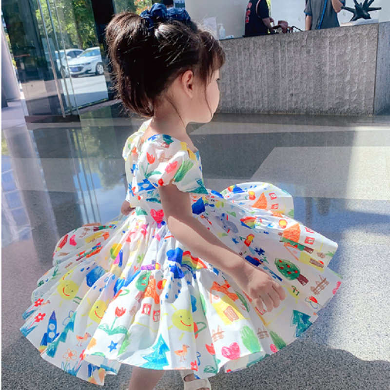 Baby Toddler Girls Dress Colorful Puff Sleeve Dresses Princess Skirt 2021 Summer New Brand for Children Baby Clothing Suit