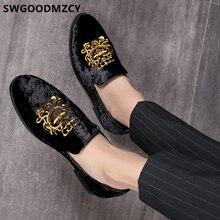 נעליים רשמיות גברים קלאסי איטלקי מותג גברים מסיבת נעלי מספרת רקמת Mens נעלי נעלי שמלת Sepatu להחליק על Pria 48 bona